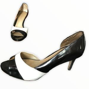 LIZ CLAIRBORNE Womans Sz 10 Patent Open Toe Heel